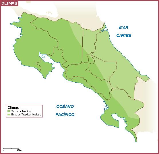 Costa Rica mapa clima