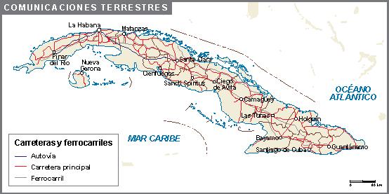 Cuba mapa comunicaciones terrestres
