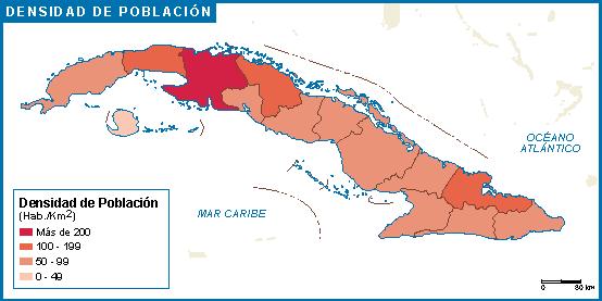 Cuba mapa poblacion