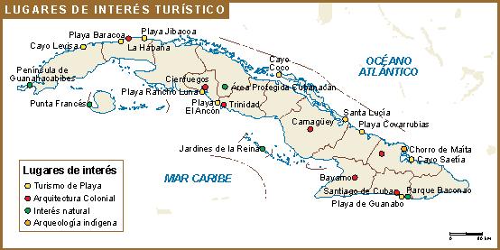 Cuba mapa turistico