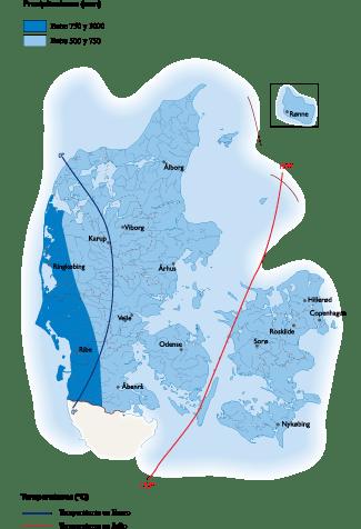 Denmark Climate map