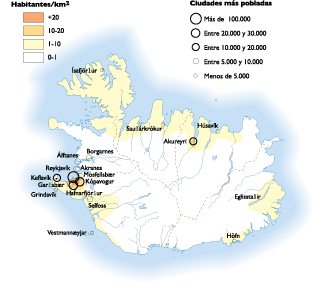 Iceland Population map