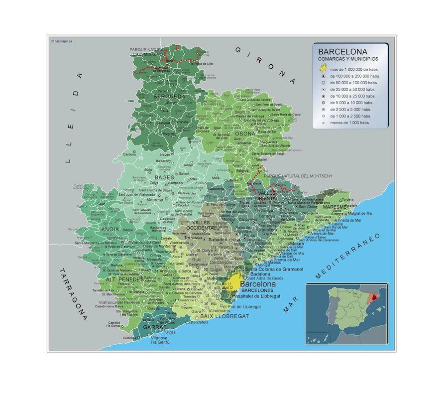 Mapa De Barcelona Provincia.Mapa Municipios Barcelona