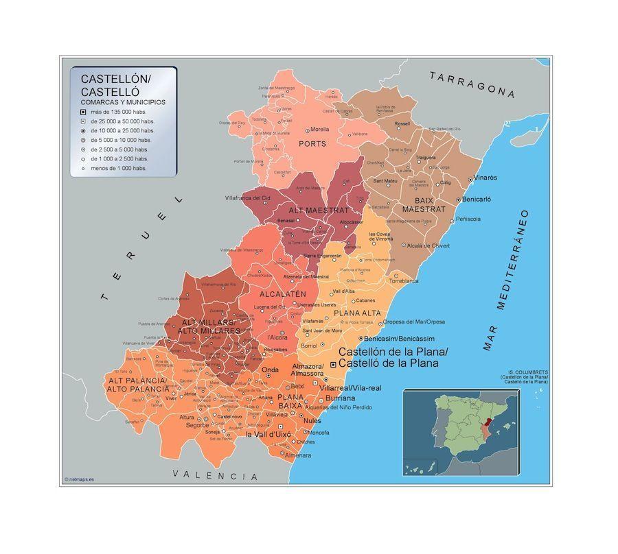 Provincia De Castellón Mapa.Mapa Municipios Castellon