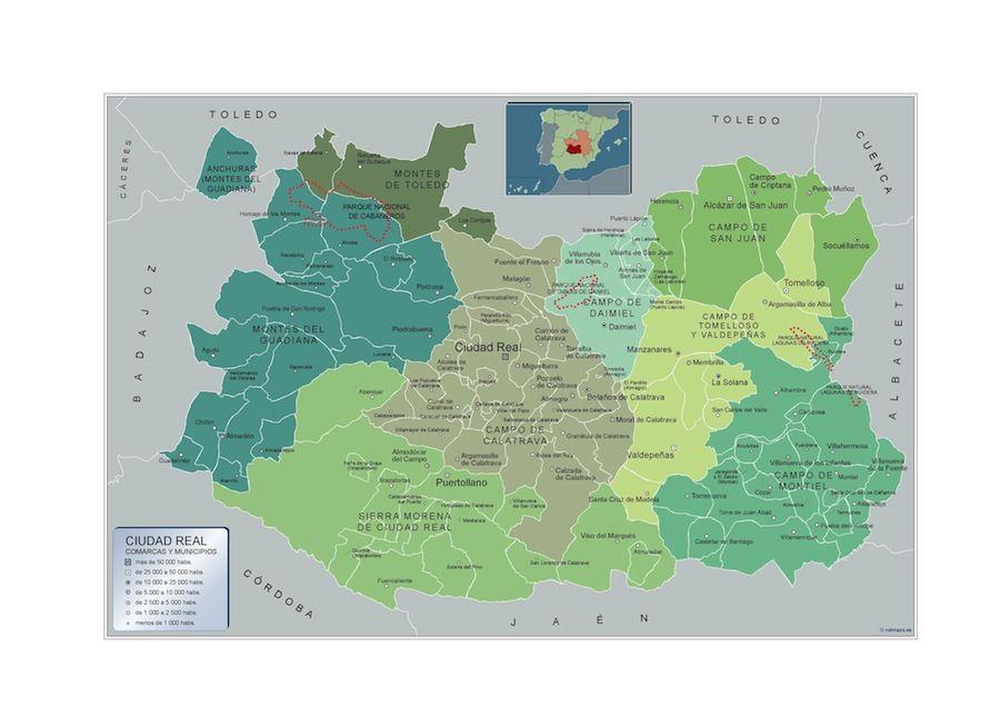 Mapa Provincia Ciudad Real.Mapa Municipios Ciudad Real