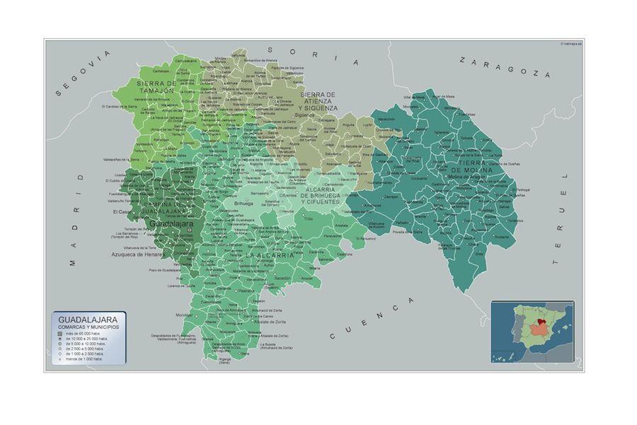 Mapa Provincia De Guadalajara.Mapa Municipios Guadalajara