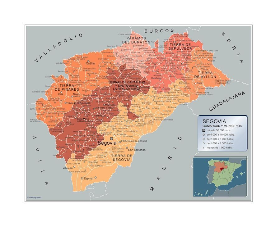 Provincia De Segovia Mapa.Mapa Municipios Segovia