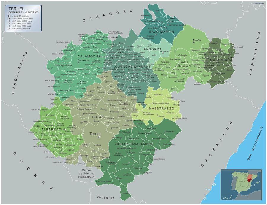 Provincia De Teruel Mapa.Mapa Municipios Teruel