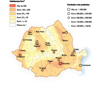 Romania Population map