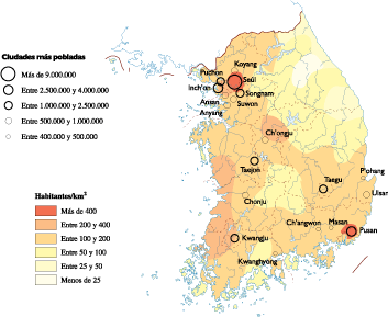 South Korea Population map