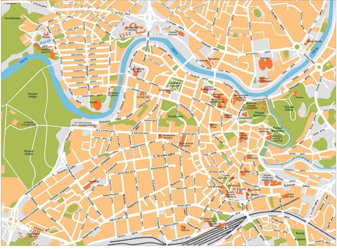 Vilnius City Map Printable