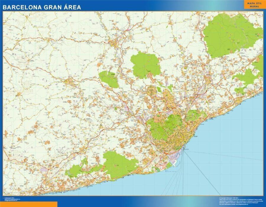 Barcelona Gran Area Mapa Vinilo