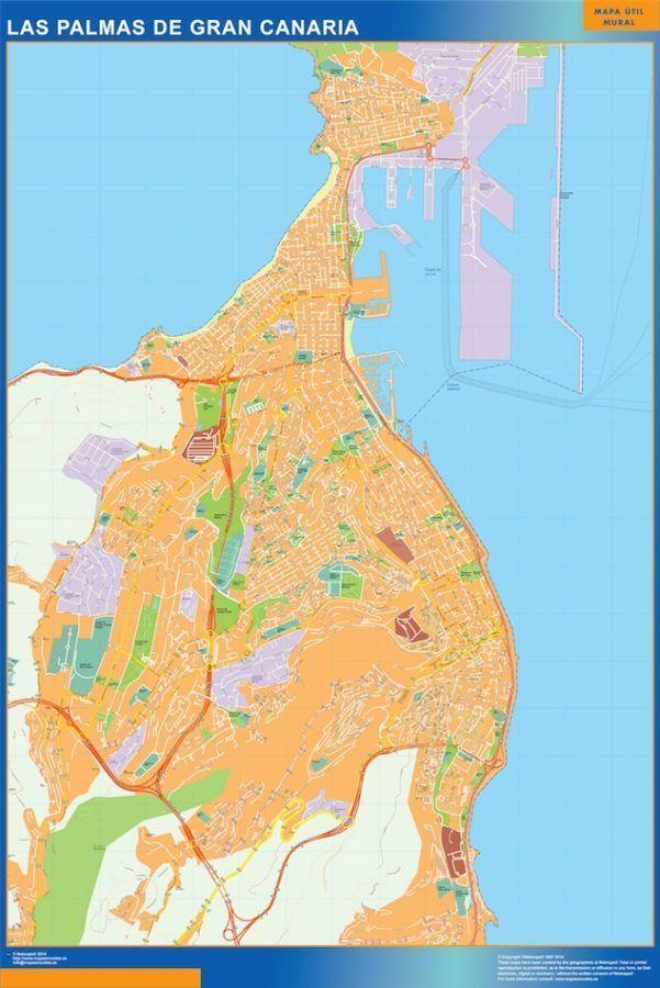 Las Palmas De Gran Canaria Mapa Vinilo