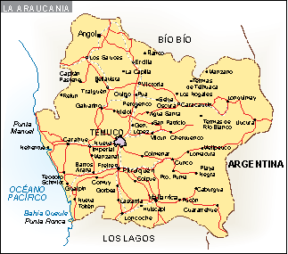 Mapa La Araucania
