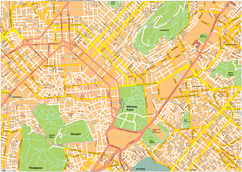 Athens Vector EPS Map