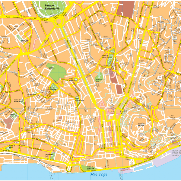 Lisbon Vector EPS Map