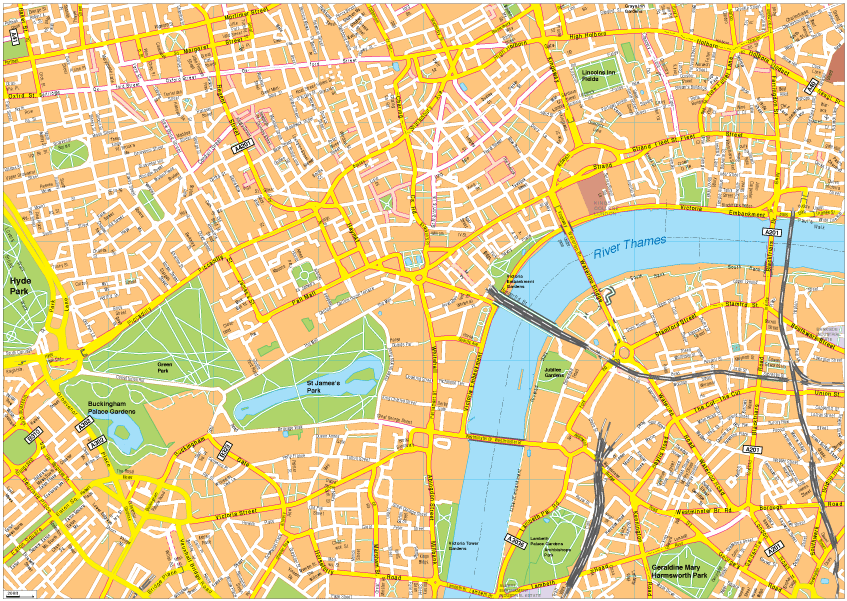Easy London Map.London Vector Eps Map