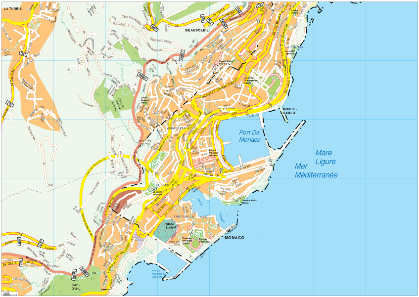 Monaco city eps map Vector and Wall Maps From UK