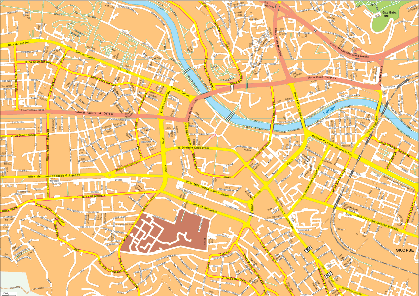 Skopje Vector EPS Map